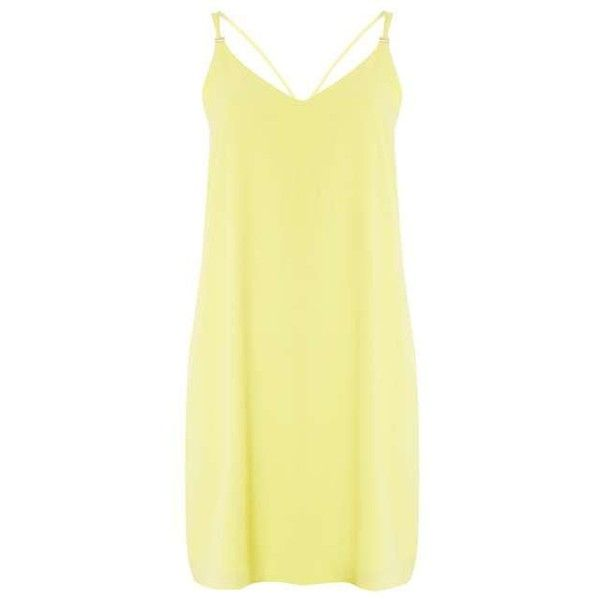 yellow cami slip dress ($44) ❤ liked on Polyvore featuring dorothy perkins, yellow cami and yellow camisole