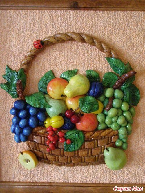 Картины с фруктами из теста соленого