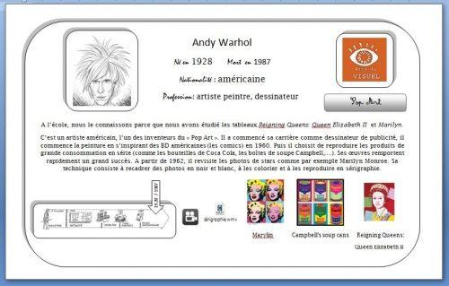 carte d'identité interactive en histoire des arts sur Andy Warhol (carte +1 vidéo expliquant la technique de la sérigraphie)
