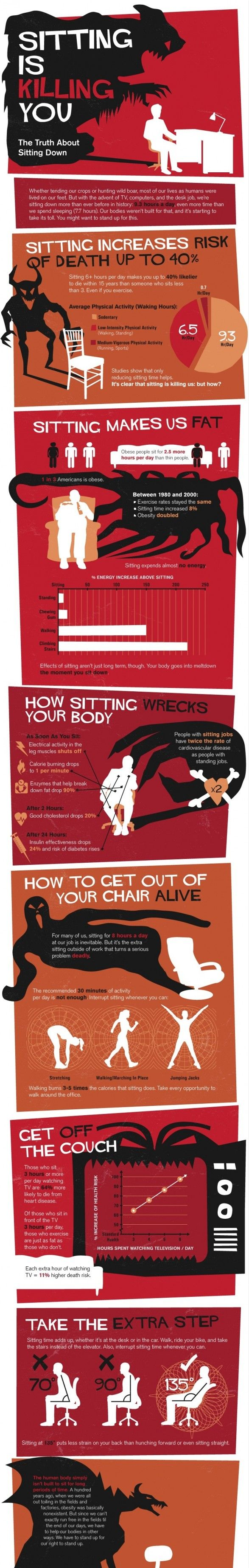 Sitting is killing you!Fit, Sitting, Offices, Keep Moving, Stands Desks, Healthy, Kill, Infographic, Info Graphics