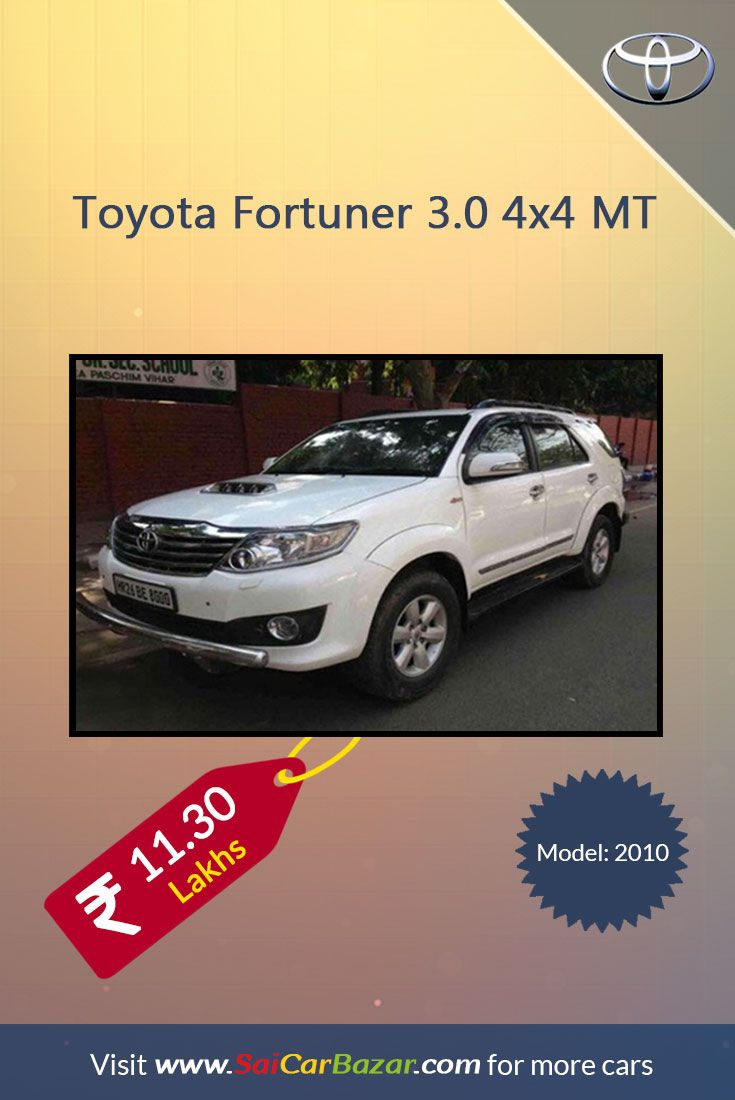 Genuine #Toyota #Fortuner 3.0 4x4 MT model 2010, available for sale at @SaiCarBazarSCB. Check the best price deal and drive your dream on wheels.