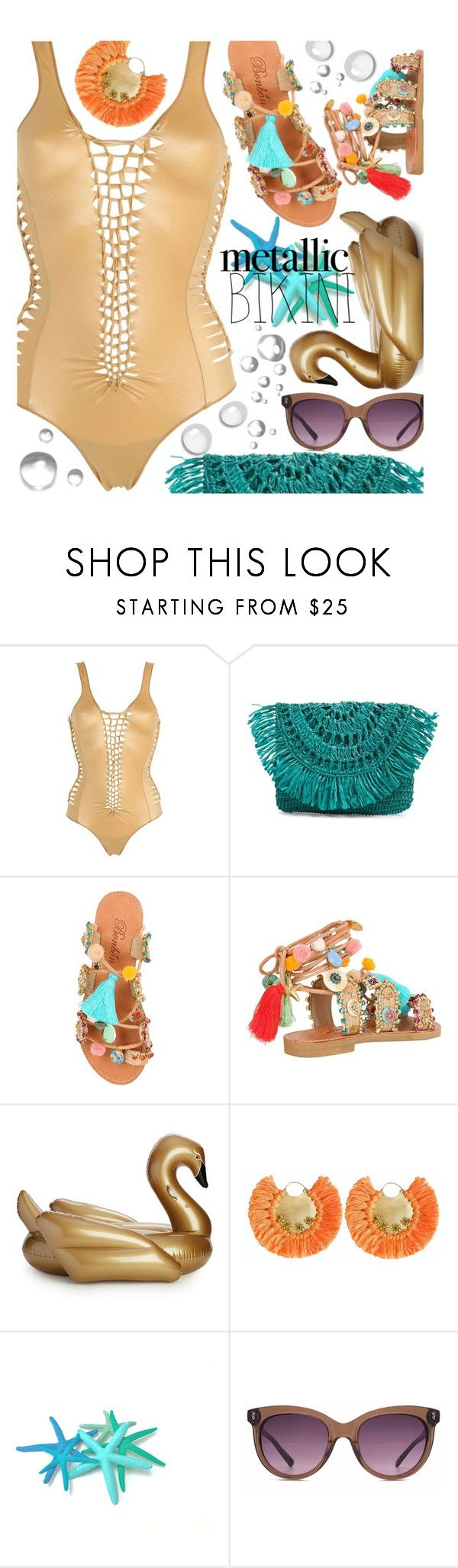 """""""Metallic Swimsuit"""" by maranella ❤ liked on Polyvore featuring PIN UP STARS, Mar y Sol, Bonbon, Funboy, Ricardo Rodriguez, HOOK LDN, poolfloat and metallicswimwear"""