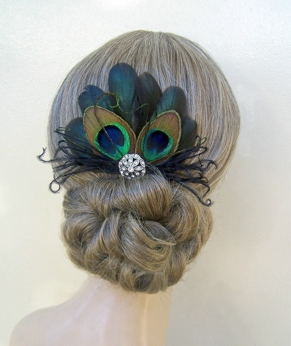 Peacock Feather Hairpin, pretty!