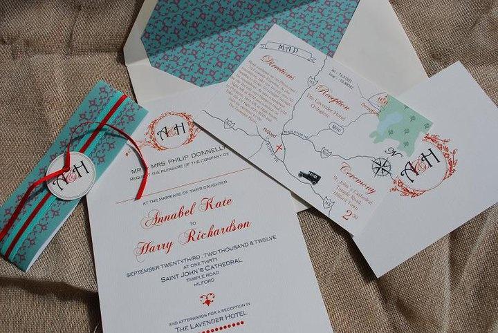 Vintage inspired wedding stationary design with monogram, bespoke map, invite and wraparound by Kingston Lafferty Design
