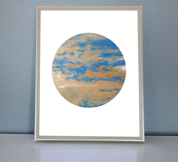 MERCURY - Blue, green, copper, White Moon/Planet Art Print 8X10, 11X14 by PrettyPaperPlaceShop on Etsy