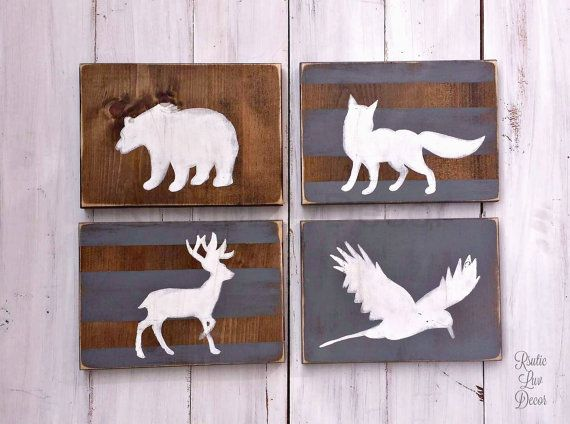 Woodland Nursery Wood Set, Tribal Decor, Rustic Nursery Sign, Hunting Nursery Decor, Pheasant Bear Deer and Fox Wolf, Kids Room Decor