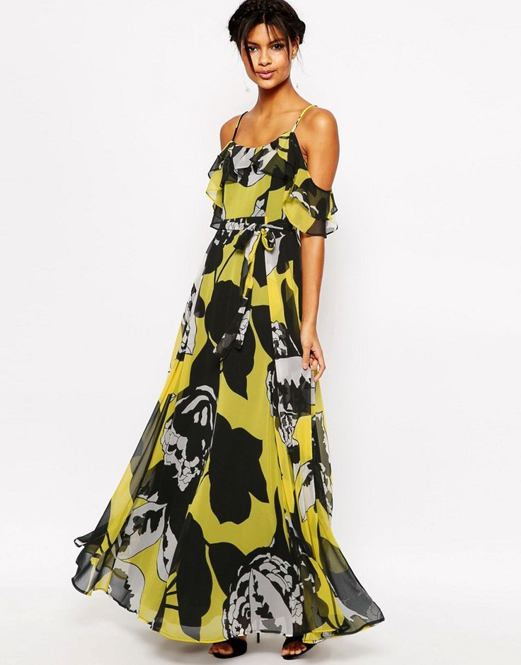 Image 1 Of Asos Ruffle Cami Maxi Dress In Yellow And Black Fl