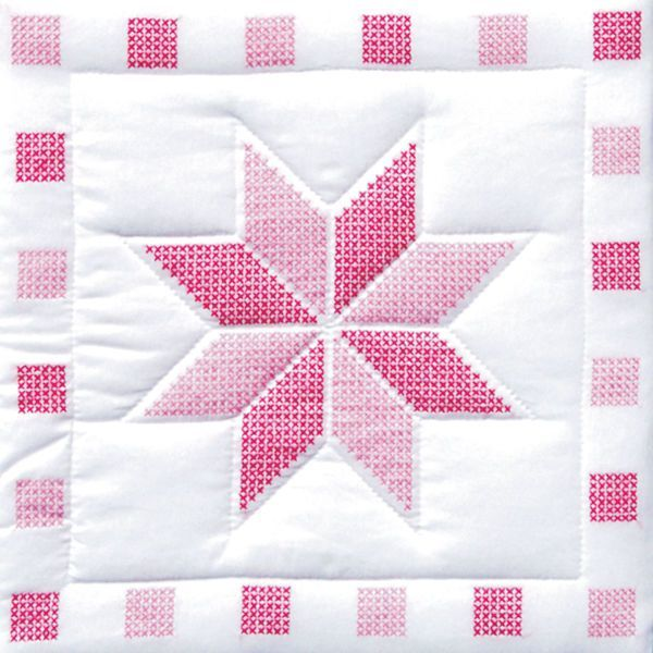 JACK DEMPSEY- XX Stars Quilt Blocks. Package contains six 18inx18in Star quilt blocks. Quilt blocks are made of cotton/poly broadcloth Item features a star design for cross stitch only. Additional mat