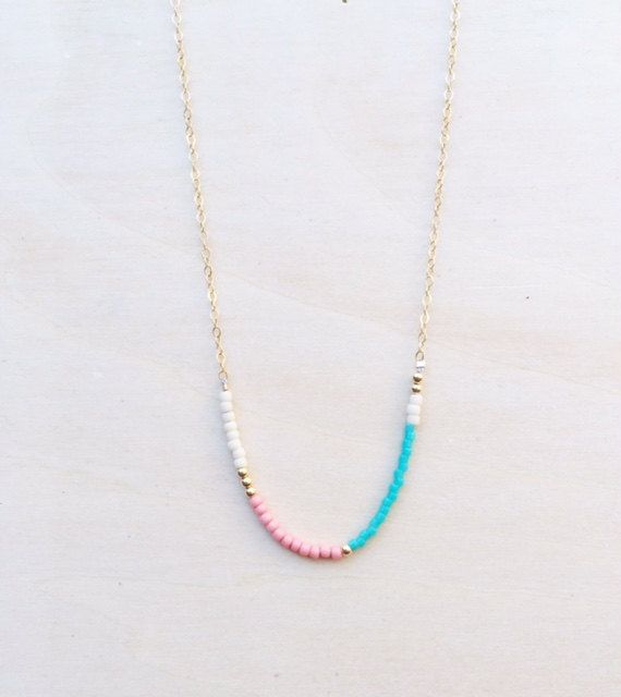 Delicate Bead Necklace / Beaded Necklace / Fine by WildAboutFrank