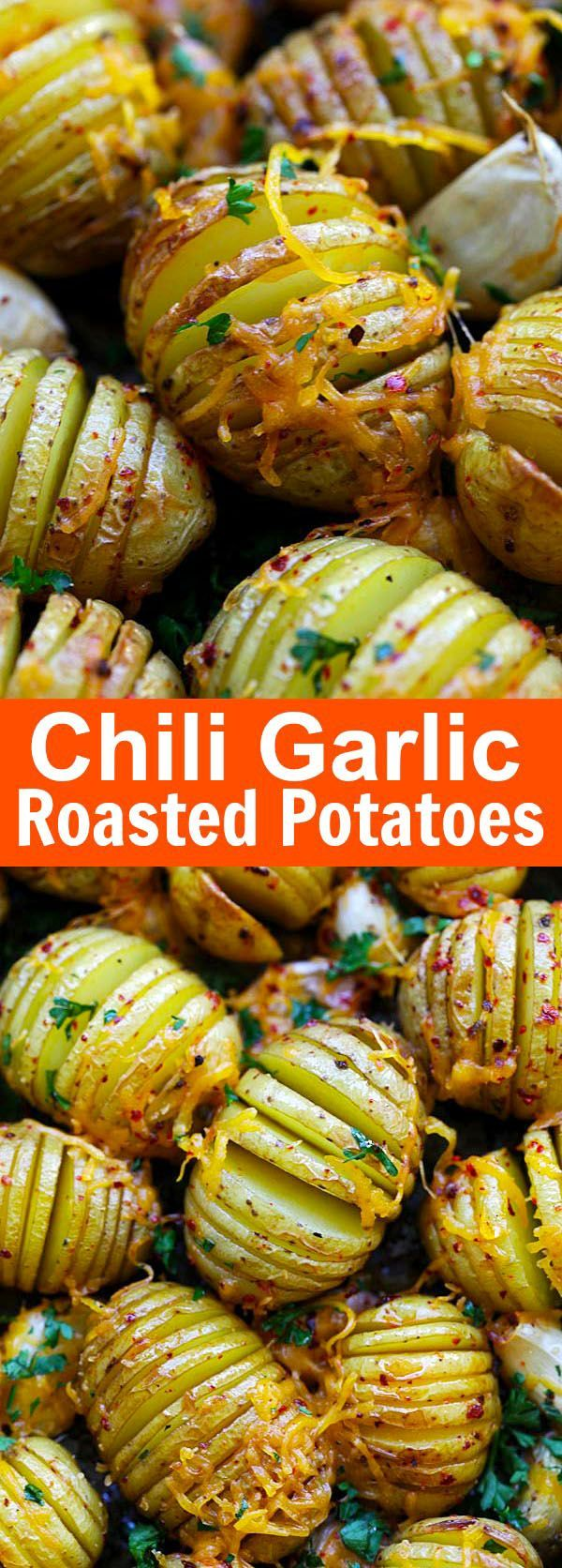 Chili Garlic Roasted Potatoes – jazz up regular garlic roasted potatoes with chili for extra kick. Cheesy and buttery goodness that you can't stop eating   rasamalaysia.com
