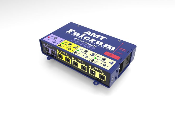 AMT Fulcrum PS-518V  AMT Electronics presents new products in the module power supply series, now they are linear power supplies with AC Network transformers. The devices have galvanic isolated output sections with a choice of voltages and load currents and are intended to feed pedal-boards with preamps and guitar effect pedals.
