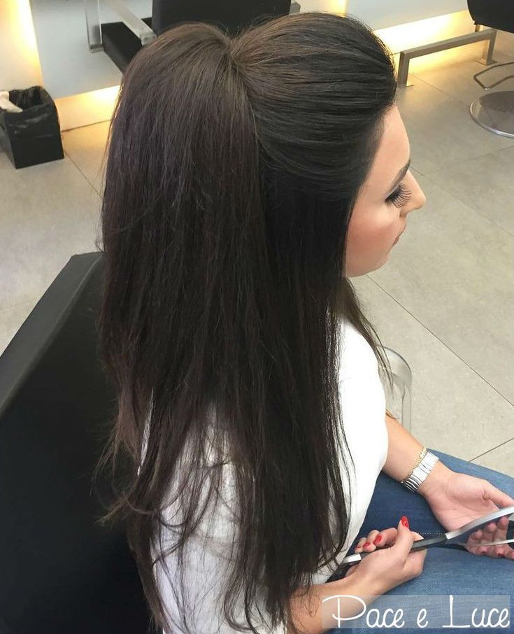 Half Up Ponytail For Straight Hair Straight Hairstyles Straight Wedding Hair Hair Styles