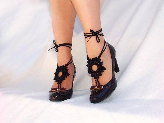Black Crochet  Barefoot Sandals Nude shoes Foot jewelry by Lasunka, €10.00