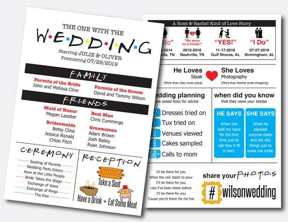 Share Your Story And Personalities And Love For F R I E N D S With This Wedding Program Featuring Fun Inf Wedding Infographic Wedding Programs Ceremony Signs