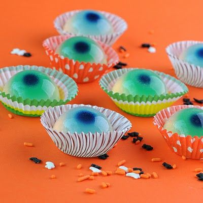 Jellied Eyeballs (non-alcoholic) by jelly-shot-test-kitchen: Make these with white grape juice or white cranberry juice, gelatin and food coloring.