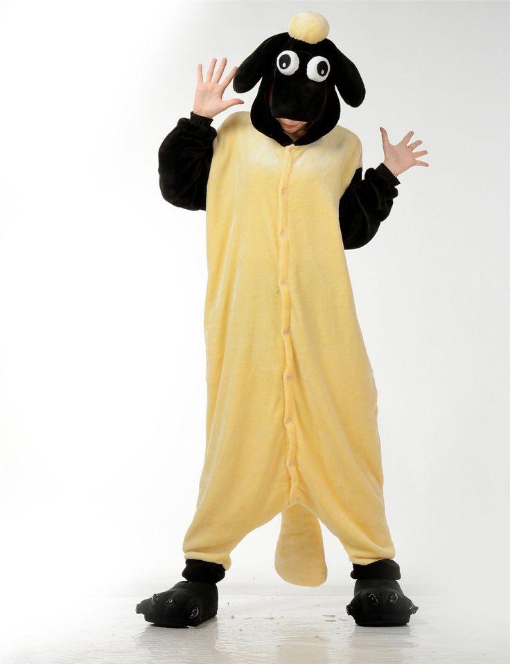 LIHAO Schaf Onesie Pyjamas Schlafanzug unisex Erwachsene Nachtwäsche Anime Cosplay Halloween Kostüm Kleidung Tier