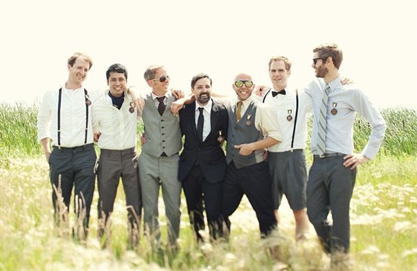 I am IN LOVE with this idea, mismatched groomsmen,. Wonder if Andrew would like this.