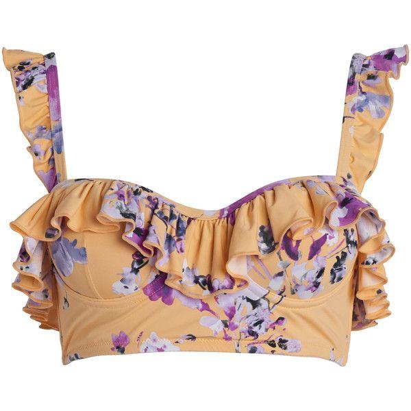 We Are Kindred Savannah Demi Ruffle Bikini Top (£115) ❤ liked on Polyvore featuring swimwear, bikinis, bikini tops, orange, flounce bikini top, flutter bikini, swimsuit tops, flutter bikini top and flounce swim top
