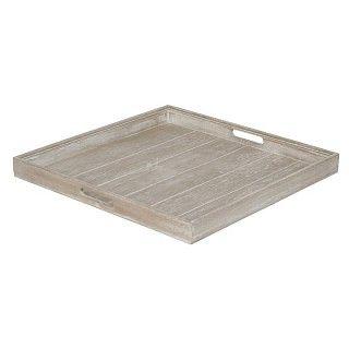 Vierkant houten dienblad in de tint greywash. Afmeting 50 x 50 x 4.5 cm. €29.95