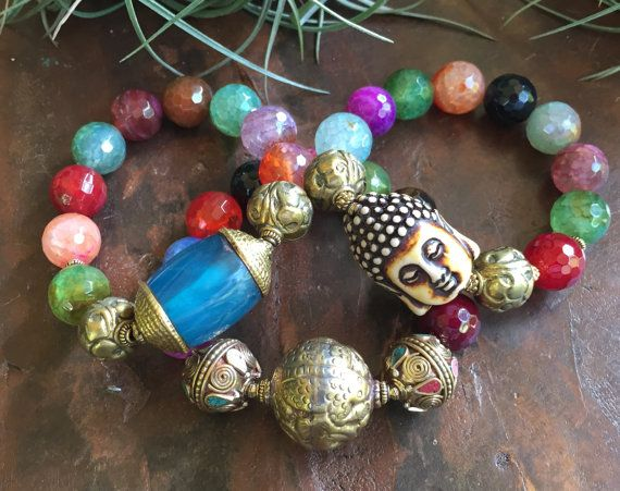 Mix Fire Agate Gemstones Triple Stretch by JewelrybyKellyWalker