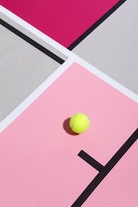 Florent Tanet. Beautiful still life tennis court with pink and soft grey background. Strong contrast shadow with a mondrian looking, modern photography composition.