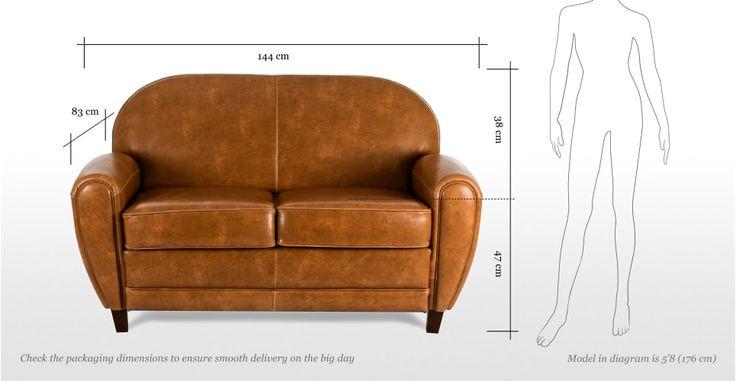 Jazz, un canapé cuir 2 places coloris cognac | made.com