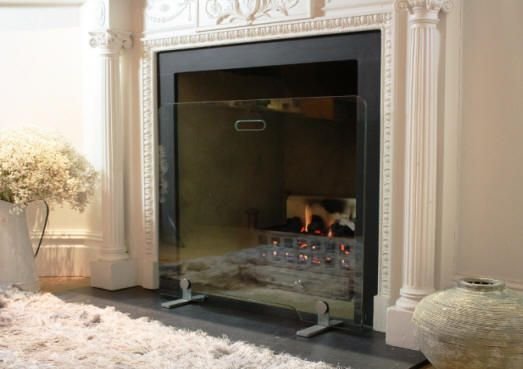 Glass Fire Guards for contemporary fireplaces and period fireplaces