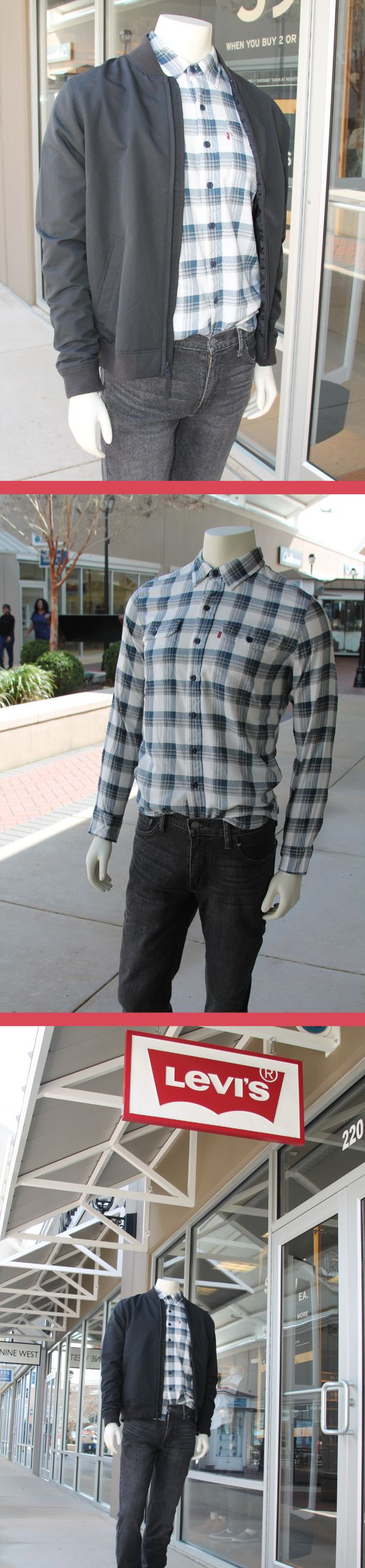Cool and casual Spring Break look for the Men. Mix a blue plaid Levi's top with black denim jeans and add a lite weight black jacket for cool, Spring nights.  Find this look at Levi's Outlet Store at the Outlets of Mississippi in Pearl, MS!