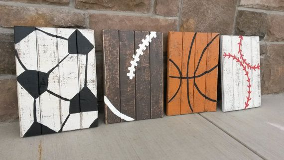 Perfect for that sports themed room!! This listing is for a set of 3 10x12 vintage wood signs. Each sign has been hand painted and