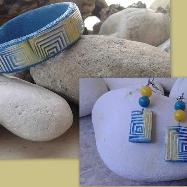 """""""Greek summer"""" Bangle and earrings"""