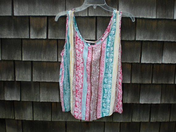 Vintage Floral Summertime Rayon Striped Tank by hardwire88 on Etsy, $14.00