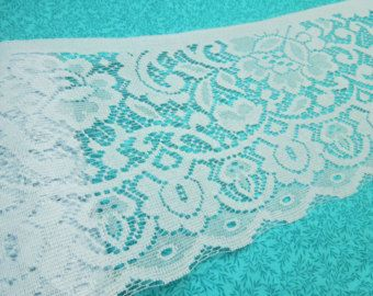 1 yard of 8 inch Light Blue Chantilly Lace trim for sewing, crafts, valentines, romantic, couture by MarlenesAttic - Item OV