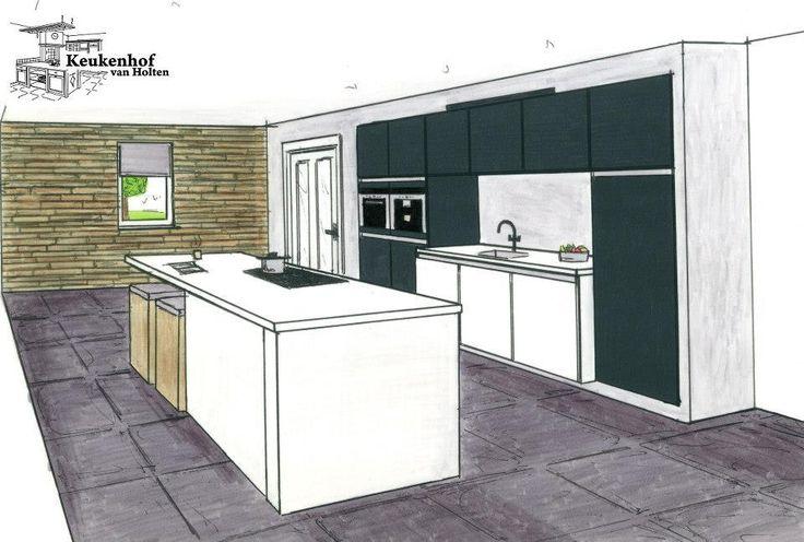 #Moderne strakke keuken #integration stijl. Natuurstenen blad. #Keukenhofvanholten #Liebherr #purewhite