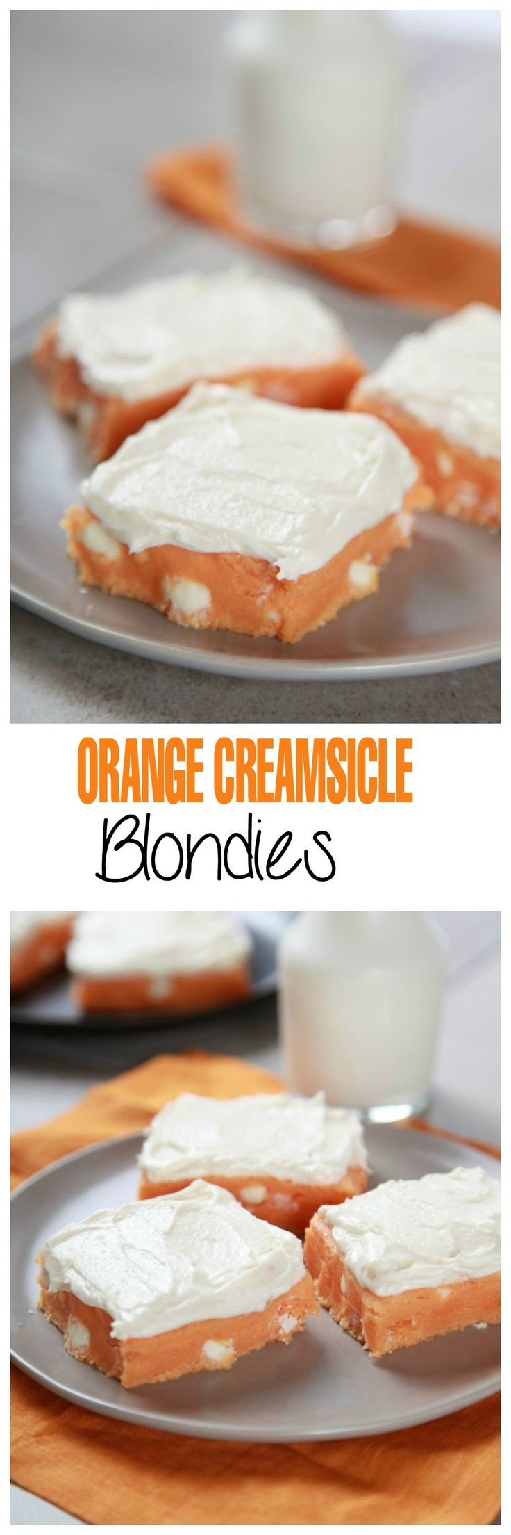 Soft and chewy orange bars topped with fluffy cream cheese frosting: tastes just like a creamsicle!