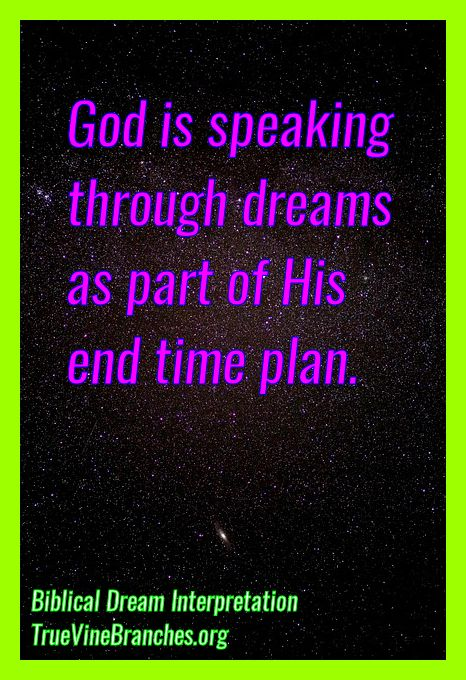 God is speaking through dreams as part of His end time plan. For more info on Biblical Dream Interpretation, join our Facebook Group, or visit our Official Page at www.facebook.com/TrueVineBranchesMinistries