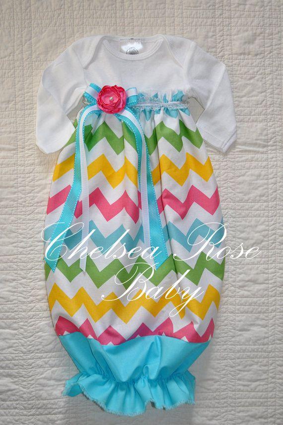 Inspiration--Baby Girl EASTER Onesie Dress, Baby Girl Dress, Chevron print, Designer Sleep Gown, Baby Nightgown, Newborn, Baby Girl Easter Onesie. $33.00, via Etsy.