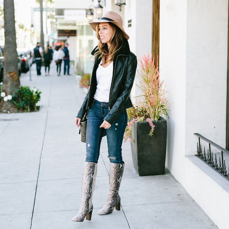 Sydne Style shows how to wear skinny jeans and Ted Baker leather jacket