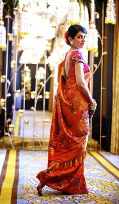 Paithani bridal saree in orange