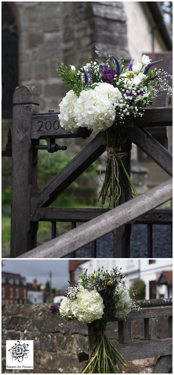 Natural Wedding flowers At the Bell Tanworth in Arden - flowers on church gate #wedding #flowers www.passionforflowers.net
