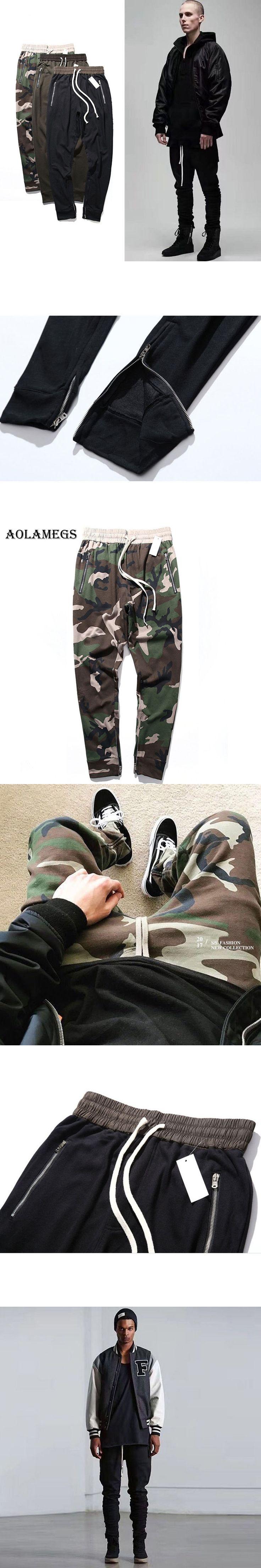 Aolamegs Pants Men Retro Side Zipper Military Pants Cotton Trousers Pants Mens Elastic Waist Couple Fashion Joggers Sweatpants
