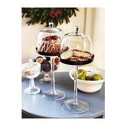 IKEA - AKTAD, Serving stand with lid, The generous height of the serving stand makes it a beautiful centrepiece on the table and a festive way to serve for example biscuits, cheese or fruit.Each serving stand has been mouthblown by a skilled craftsman.