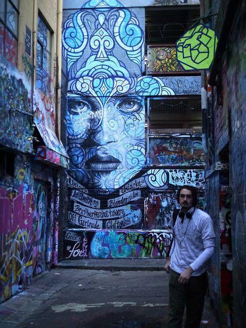 Street Art...by Hosier Lane, Melbourne, Australia, photo by kenzilicious via Flickr.