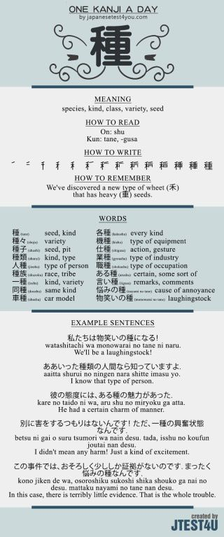 Learn one Kanji a day with infographic: 種 (shu)
