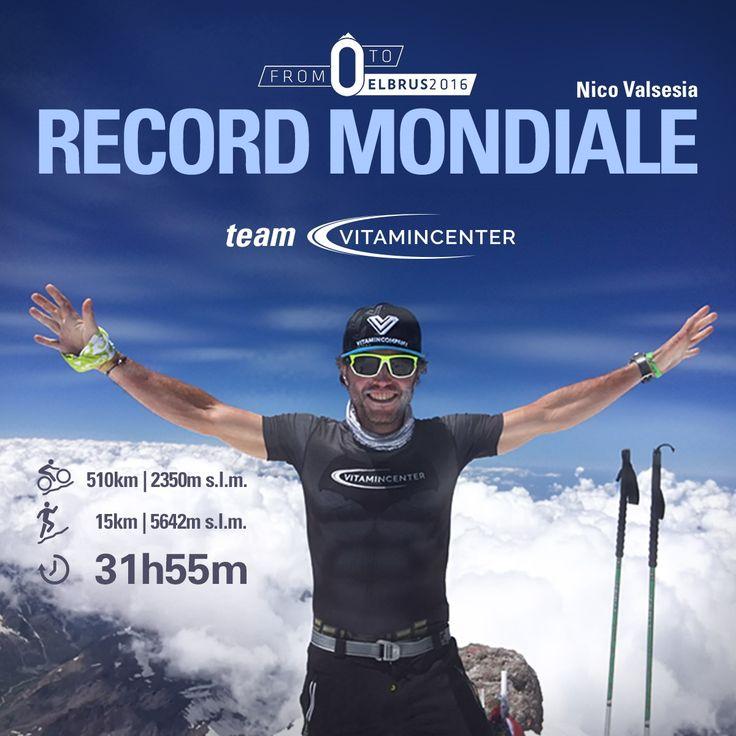 TERZO RECORD MONDIALE per Nico Valsesia, che ha portato a termine con successo il suo ultimo progetto: la salita non stop, in bicicletta e a piedi, dalle rive del mar Caspio (una depressione a – 29 metri di quota) fino alla cima russa del monte Elbrus nel Caucaso (5642metri di altezza) in sole 31 ore e 55 minuti.  Congratulazioni Nico! #teamVitaminCenter #bepartofit #world #championship #corsa #bicicletta #sfida