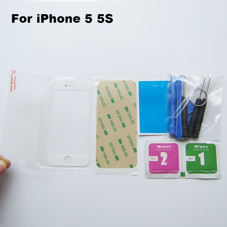 White 5S Front Glass Replacement Parts For iphone 5 5C 5s Touch Screen Digitizer Glass repair kit & Adhesive & tempered glass
