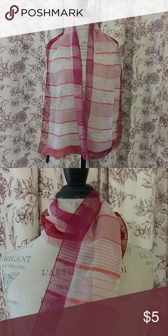 Sheer pink, orange and white scarf Cute versatile sheer light scarf. Fuchsia, orange, and white. Great for a tropical vaca! Accessories Scarves & Wraps