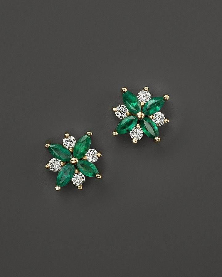 926e2d038 Bloomingdale's Emerald and Diamond Flower Stud Earrings in 14K Yellow Gold  - 100% Exclusive #diamondearrings