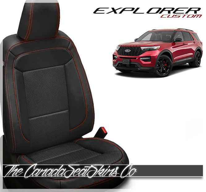 2020 Ford Explorer Custom Leather Upholstery 2020 Ford Explorer Ford Explorer Black Leather Seating