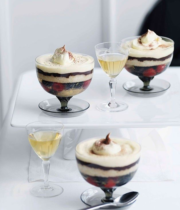 Blueberry Champagne and dark chocolate trifle - Gourmet Traveller