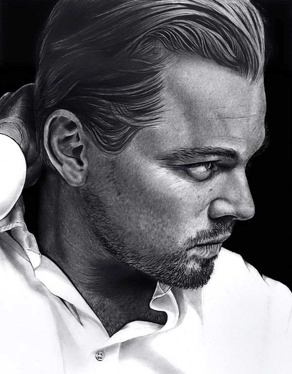 Leonardo DiCaprio - Pencil portrait of Leonardo DiCaprio. Hollywood star Leonardo DiCaprio is drawn to be looking sharply sideways with his hand brushing his seemingly well combed hair.